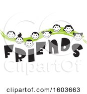 Clipart Of A Green Wave With Faces Of Children Over The Word Friends Royalty Free Vector Illustration by Johnny Sajem