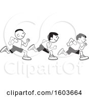 Clipart Of A Group Of Boys Running The One Hundred Yard Dash On Field Day Royalty Free Vector Illustration