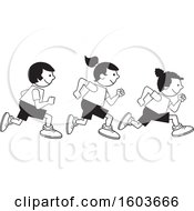 Clipart Of A Group Of Kids Running The One Hundred Yard Dash On Field Day Royalty Free Vector Illustration