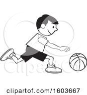 Clipart Of A Black And White Boy Dribbling A Basketball Royalty Free Vector Illustration