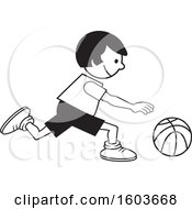 Clipart Of A Girl Dribbling A Basketball Royalty Free Vector Illustration