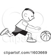 Poster, Art Print Of Black Boy Dribbling A Basketball