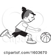Clipart Of A Black Girl Dribbling A Basketball Royalty Free Vector Illustration