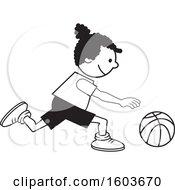 Black Girl Dribbling A Basketball