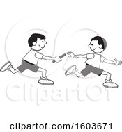 Clipart Of Boys Passing A Baton In A Relay Race Over A Green Oval Royalty Free Vector Illustration