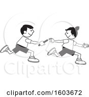 Clipart Of A Boy And Girl Passing A Baton In A Relay Race Royalty Free Vector Illustration