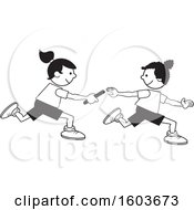Clipart Of Girls Passing A Baton In A Relay Race Royalty Free Vector Illustration