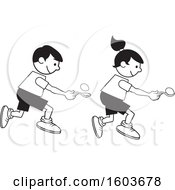 Clipart Of A Boy And Girl During A Field Day Egg And Spoon Race Royalty Free Vector Illustration