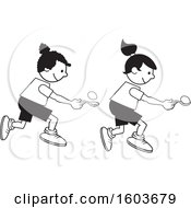 Clipart Of Girls During A Field Day Egg And Spoon Race Royalty Free Vector Illustration