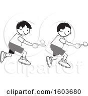 Clipart Of Boys During A Field Day Egg And Spoon Race Royalty Free Vector Illustration