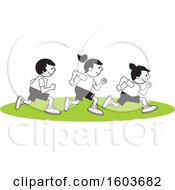 Clipart Of A Group Of Children Running The One Hundred Yard Dash On Field Day Royalty Free Vector Illustration