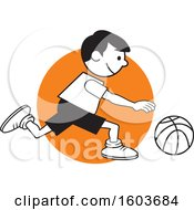 Clipart Of A Boy Dribbling A Basketball Over An Orange Circle Royalty Free Vector Illustration