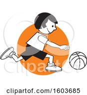 Clipart Of A Girl Dribbling A Basketball Over An Orange Circle Royalty Free Vector Illustration