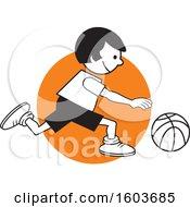 Girl Dribbling A Basketball Over An Orange Circle