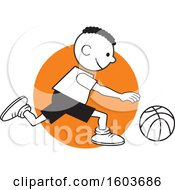 Poster, Art Print Of Black Boy Dribbling A Basketball Over An Orange Circle