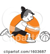 Clipart Of A Black Girl Dribbling A Basketball Over An Orange Circle Royalty Free Vector Illustration