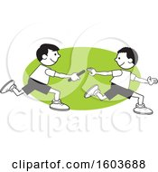 Poster, Art Print Of Boys Passing A Baton In A Relay Race Over A Green Oval