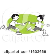 Clipart Of A Boy And Girl Passing A Baton In A Relay Race Over A Green Oval Royalty Free Vector Illustration