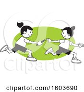 Poster, Art Print Of Girls Passing A Baton In A Relay Race Over A Green Oval