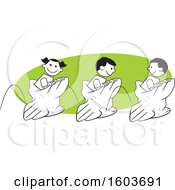 Clipart Of A Girl And Boys Hopping In A Field Day Potato Sack Race Over A Green Oval Royalty Free Vector Illustration