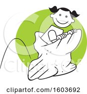 Clipart Of A Girl Hopping In A Field Day Potato Sack Race Over A Green Circle Royalty Free Vector Illustration