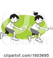 Clipart Of A Boy And Girl During A Field Day Egg And Spoon Race Over A Green Oval Royalty Free Vector Illustration
