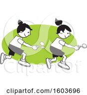 Clipart Of Girls During A Field Day Egg And Spoon Race Over A Green Oval Royalty Free Vector Illustration