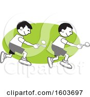 Clipart Of Boys During A Field Day Egg And Spoon Race Over A Green Oval Royalty Free Vector Illustration