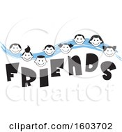 Clipart Of A Blue Wave With Faces Of Children Over The Word Friends Royalty Free Vector Illustration