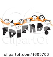 Clipart Of An Orange Wave With Faces Of Children Over The Word Friends Royalty Free Vector Illustration
