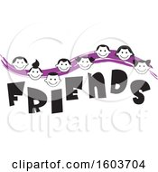 Clipart Of A Purple Wave With Faces Of Children Over The Word Friends Royalty Free Vector Illustration