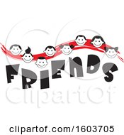 Clipart Of A Red Wave With Faces Of Children Over The Word Friends Royalty Free Vector Illustration
