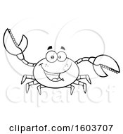 Clipart Of A Lineart Happy Crab Mascot Character Royalty Free Vector Illustration