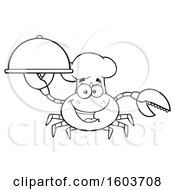 Clipart Of A Lineart Happy Crab Chef Mascot Character Holding A Platter Royalty Free Vector Illustration