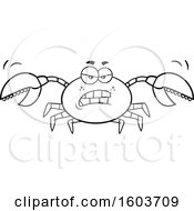 Lineart Mad Crab Mascot Character