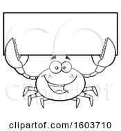 Clipart Of A Lineart Happy Crab Mascot Character Holding Up A Blank Sign Royalty Free Vector Illustration