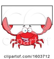 Happy Crab Mascot Character Holding Up A Blank Sign