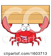 Happy Crab Mascot Character Holding Up A Blank Wood Sign