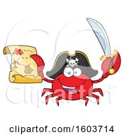 Happy Pirate Captain Crab Mascot Character Holding A Sword And Treasure Map