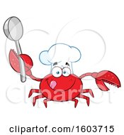 Clipart Of A Happy Crab Chef Mascot Character Holding A Spoon Royalty Free Vector Illustration by Hit Toon