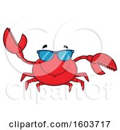 Happy Crab Mascot Character Wearing Sunglasses