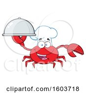 Clipart Of A Happy Crab Chef Mascot Character Holding A Platter Royalty Free Vector Illustration by Hit Toon