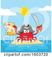 Clipart Of A Happy Pirate Captain Crab Mascot Character Holding A Sword And Treasure Map On An Island Royalty Free Vector Illustration