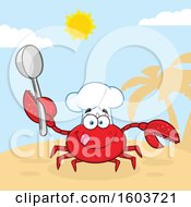 Clipart Of A Happy Crab Chef Mascot Character Holding A Spoon On A Beach Royalty Free Vector Illustration