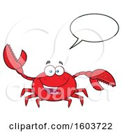 Clipart Of A Happy Crab Mascot Character Talking Royalty Free Vector Illustration by Hit Toon