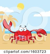 Clipart Of A Happy Crab Mascot Character On A Beach Royalty Free Vector Illustration by Hit Toon