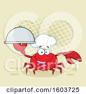 Clipart Of A Happy Crab Chef Mascot Character Holding A Platter Over Halftone Royalty Free Vector Illustration