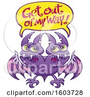 Clipart Of A Cartoon Two Headed Bat Shouting Get Out Of My Way Royalty Free Vector Illustration by Zooco