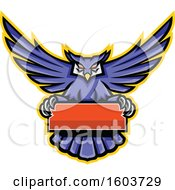 Clipart Of A Purple Great Horned Owl Mascot Flying With A Blank Banner Royalty Free Vector Illustration by patrimonio