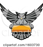 Clipart Of A Gray Great Horned Owl Mascot Flying With A Blank Banner Royalty Free Vector Illustration